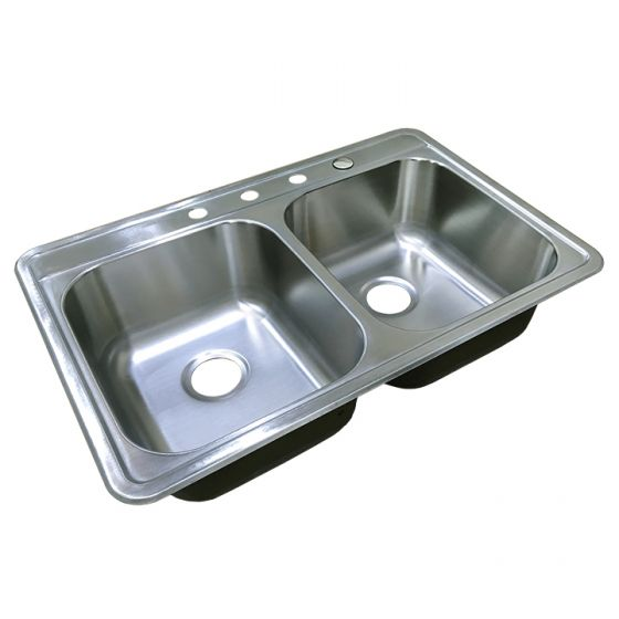 Self Rimming 8 Deep Stainless Steel Sink Double Bowl 22 X 33 X 8