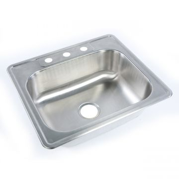 "Self-Rimming 25"" Single Bowl Stainless Steel Sink"