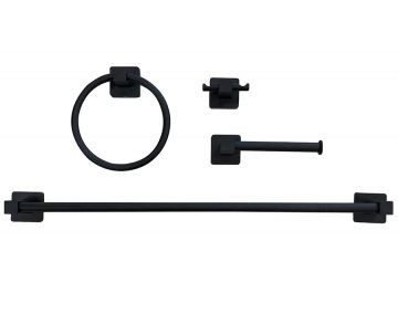 4-Piece Matte Black Bath Hardware Set
